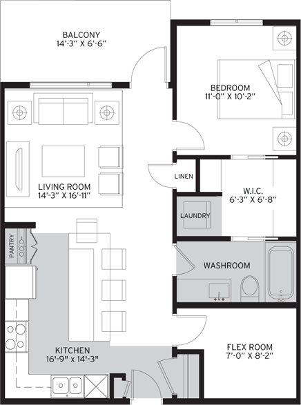 1 Bedroom Suite Floorplan