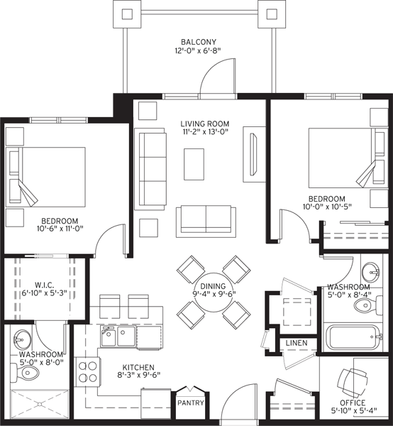 Unit B1 Floorplan