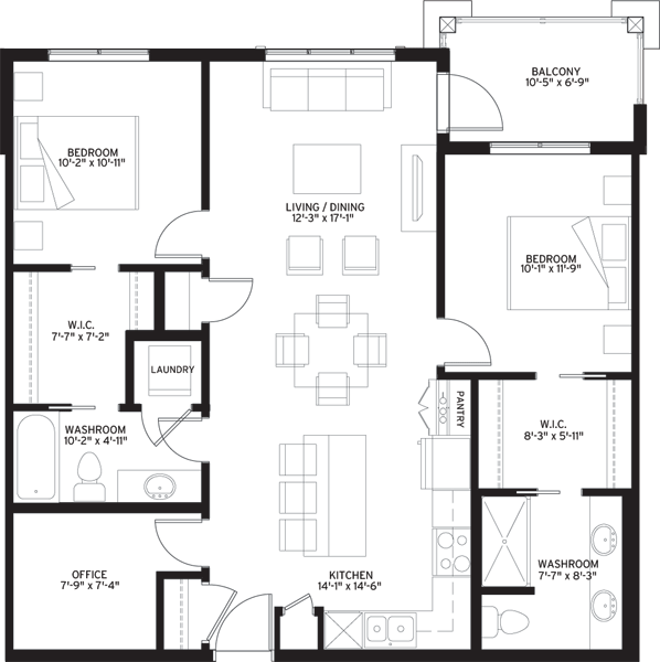 Unit B1X Floorplan