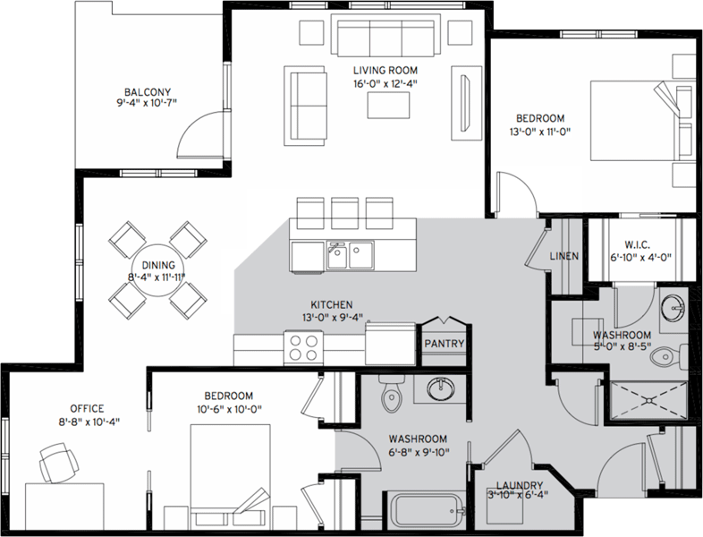 2 Bedroom Suite Floorplan